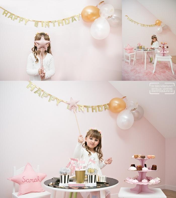 photo anniversaire fille rose et paillettes baguette magique
