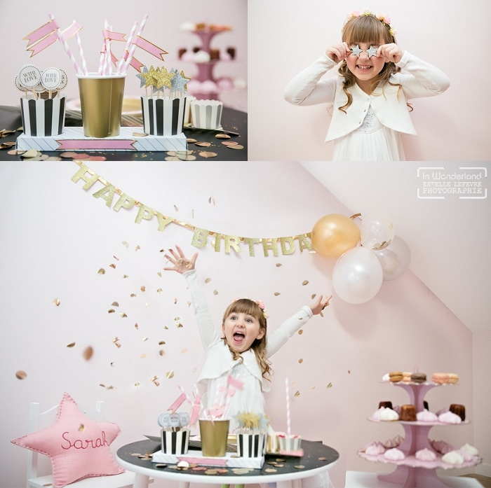 photo anniversaire fille rose et paillettes