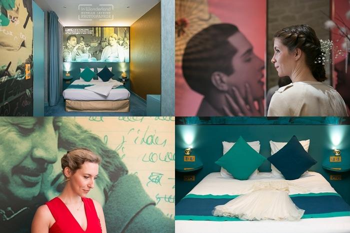 préparatifs du mariage avec la mariée seule à l'hôtel Montmartre