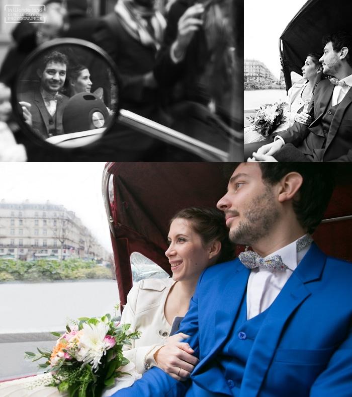 Promenade des mariés en touk touk dans Paris