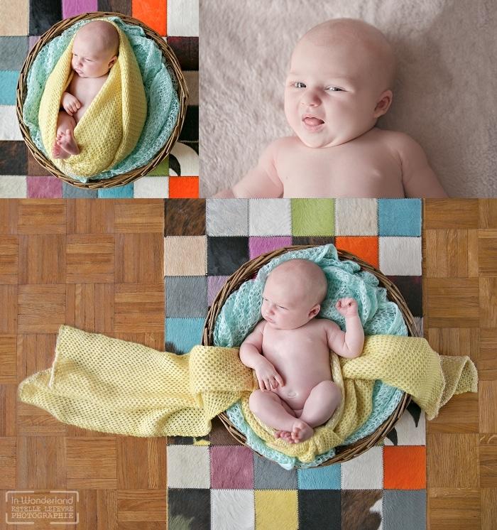 bébé allongé dans un panier sur un tapis multicolor