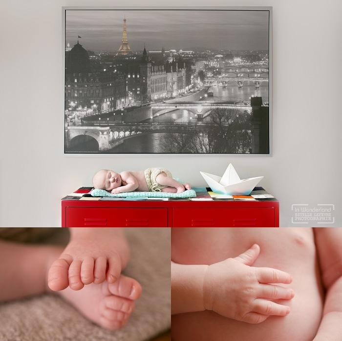 bébé allongé, détails de nouveau-né