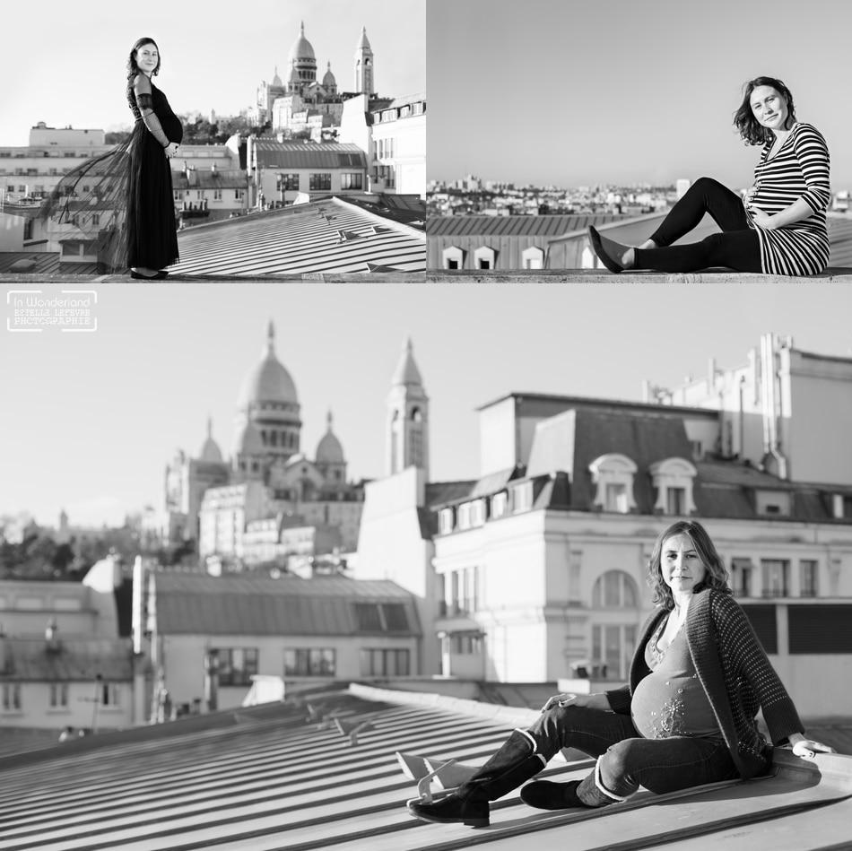 Séance photo grossesse originale les toits de Paris 75