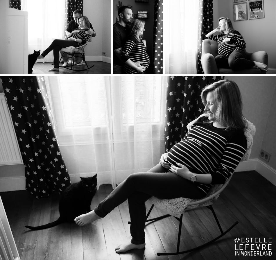 Séance photo de grossesse à domicile photographe à Courbevoie