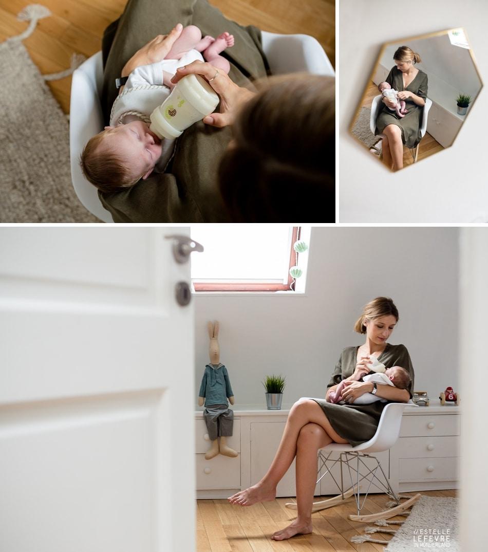 Photos de naissance à domicile en famille photographe à Colombes